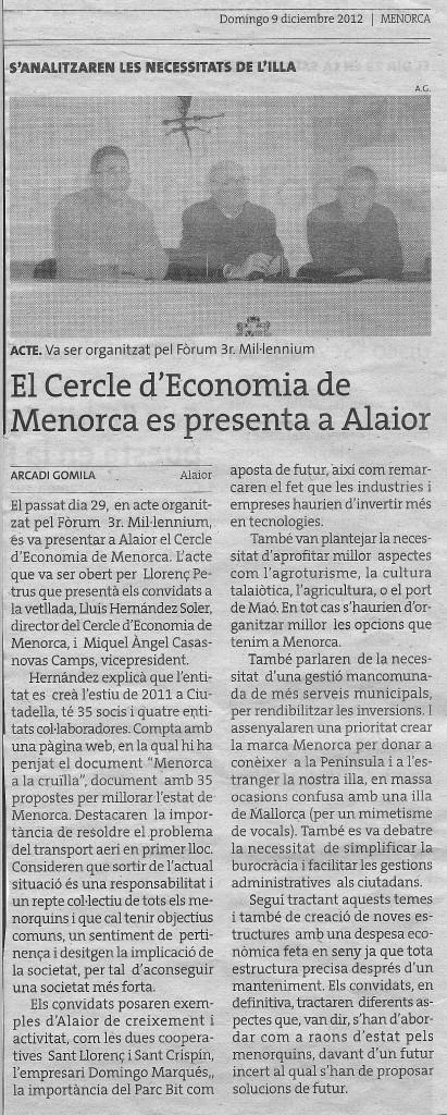 Presentacion del CEM en el Foro III Mil.leni Alaior