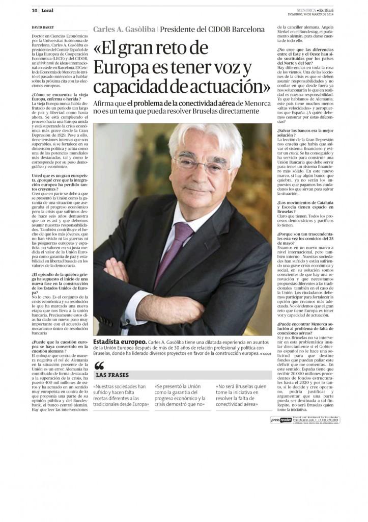 Entrevista Carles Gasòliba 300314 Diari Menorca
