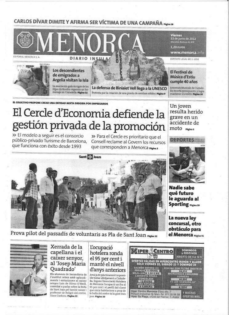 La Promoción Turística DIARI MENORCA 22_06_2012 001