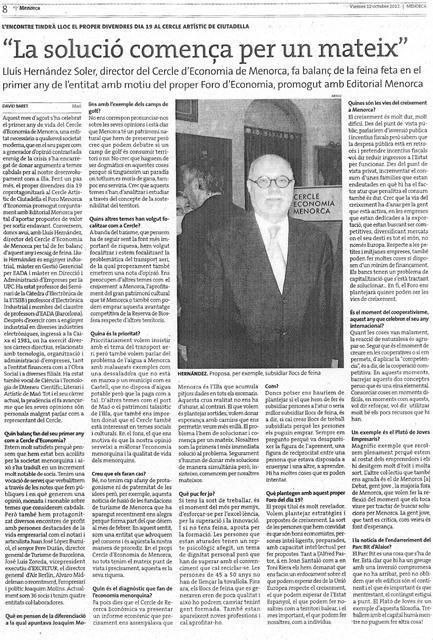 Lluís Hernandez - Diari Menorca - 12 10 2012