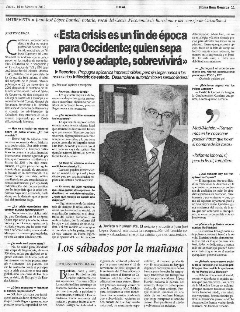 Juan José Lopez Burniol en UH Menorca 16_03_2012