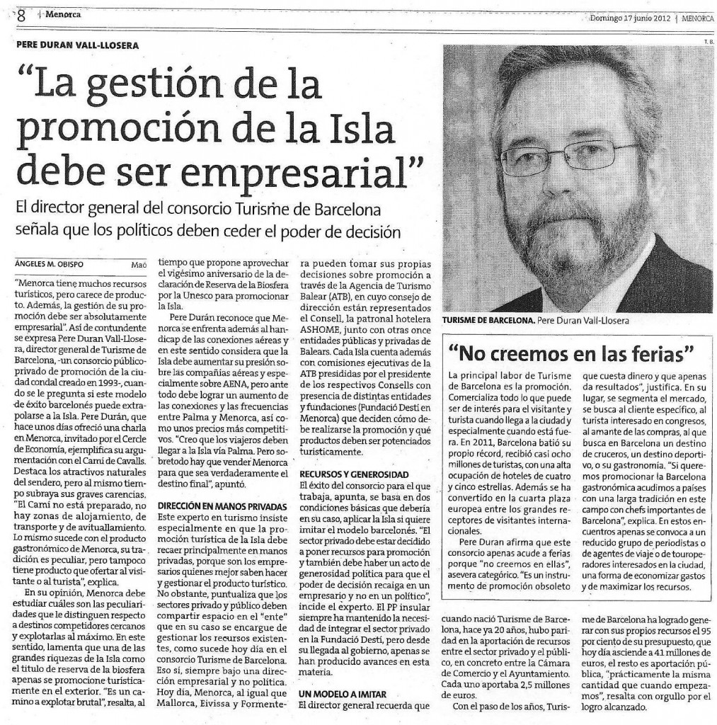 Crónica de tertulia con Pere Duran en Diari Menorca 17_06_2012