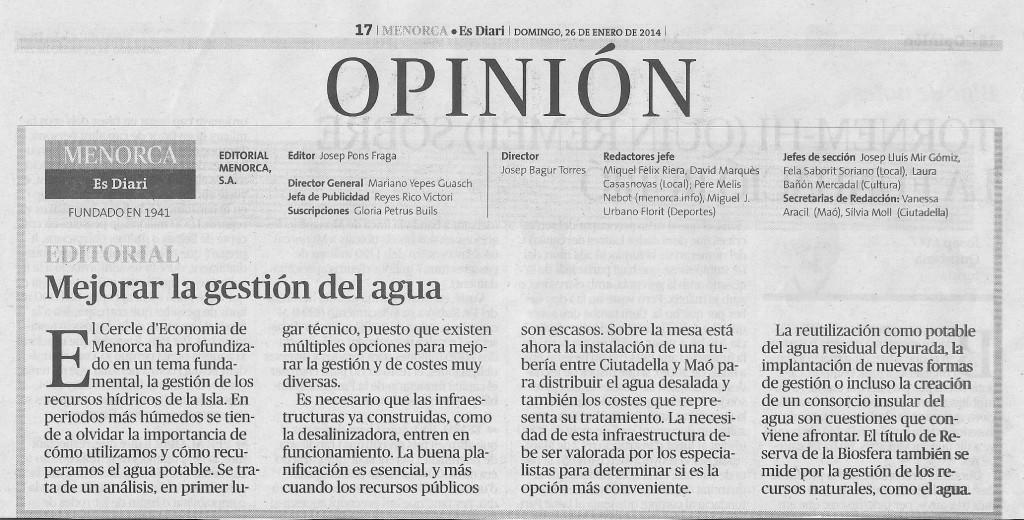 Opinió al Diari Menorca: gestió de l'aigua