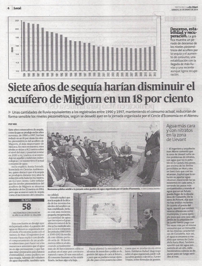 La gestión del agua en Menorca - Noticia